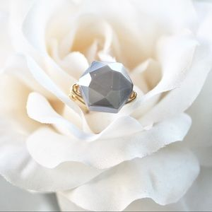 HANDMADE / Slate Gray Glass Hexagon Wire Ring